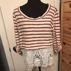 Maroon striped and embroidered blouse